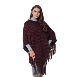Checker, and Wave Pattern Poncho with Tassels (Size 75x55 Cm) Black and Wine Red Colour