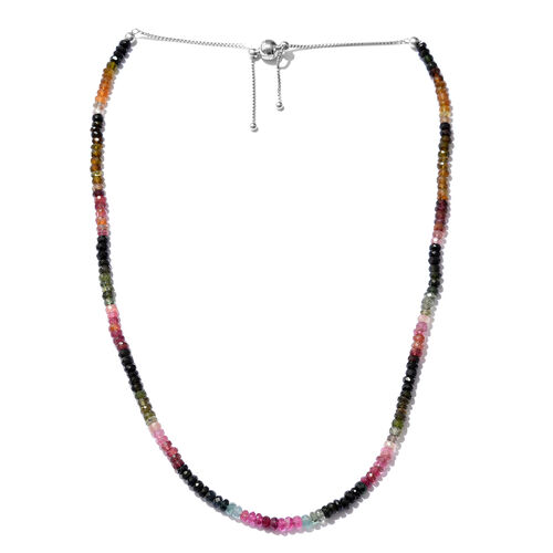 One Time Deal - AAA Rainbow Tourmaline (Rnd) Beads Necklace (Size 18) in Platinum Overlay Sterling S