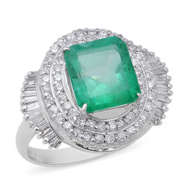 Signature Collection - 900 Platinum AAAA Boyaca Colombian Emerald (Oct 11x9mm), Diamond Ring 5.64 Ct