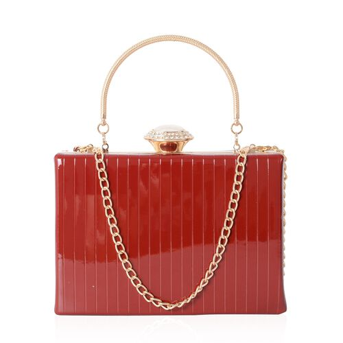 Boutique Collection High Glossed Vintage Style Red Colour Clutch Bag with Removable Chain Shoulder S