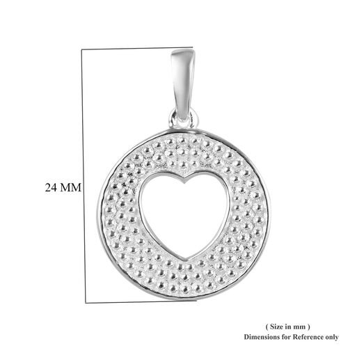 Sterling Silver Heart Circle Pendant