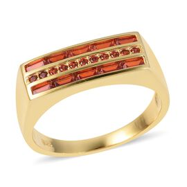 ELANZA Simulated Garnet (Bgt) Ring in Yellow Gold Overlay Sterling Silver