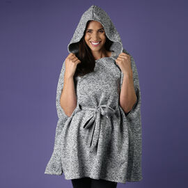 Light Grey Knitted Poncho with Waistbelt (Size 55x77cm)