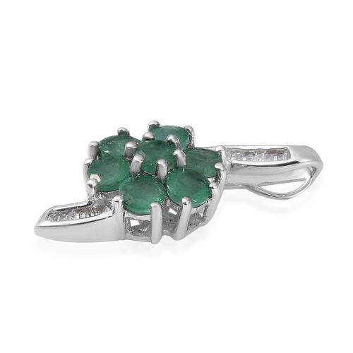 9K White Gold Kagem Zambian Emerald (Rnd), Diamond Flower Pendant 1.250 Ct.Gold Wt 1.60 Gms