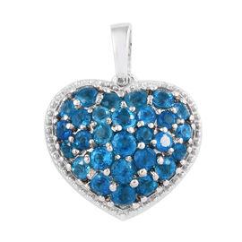 Malgache Neon Apatite (Rnd) Heart Pendant in Platinum Overlay Sterling Silver 1.500 Ct.