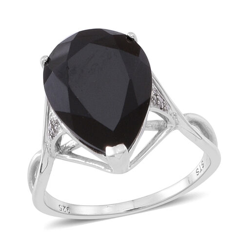 Boi Ploi Black Spinel (Pear), Natural White Cambodian Zircon Ring in Rhodium Plated Sterling Silver 11.000 Ct.