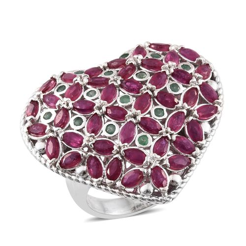 5.75 Ct African Ruby and Kagem Zambian Emerald Heart Ring in Platinum Plated Sterling Silver