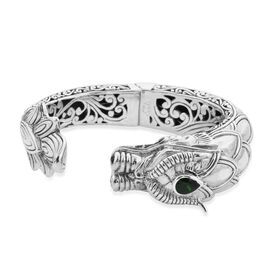 Royal Bali Collection - Russian Diopside Dragon Hinged Cuff Bangle (Size 7.5) in Sterling Silver, Si
