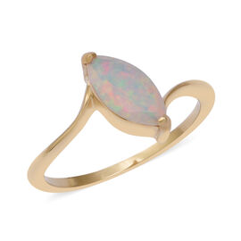 1 Carat Ethiopian Opal Solitaire Ring in Gold Plated Sterling Silver