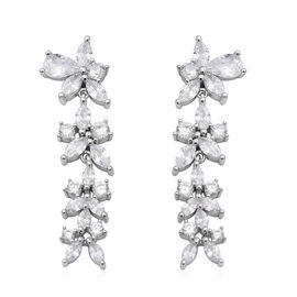 ELANZA AAA Simulated Diamond Dangle Earrings (with Push Back) in Rhodium overlay Sterling Silver