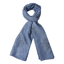 New Arrival- Blue Colour Tree Pattern Scarf (Size 180x70 Cm)