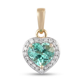 9K Yellow Gold  Colombian Emerald, White Diamond Heart Pendant in Rhodium Overlay 1.20 ct,  Gold Wt.