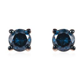 0.20 Ct Blue Diamond Solitaire Stud Earrings in 9K Gold
