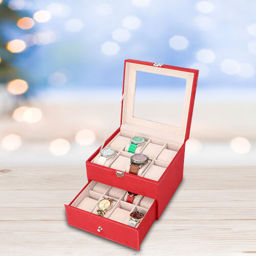 Two-Layer Velvet Watch Box with Glass Window on Top in Red
