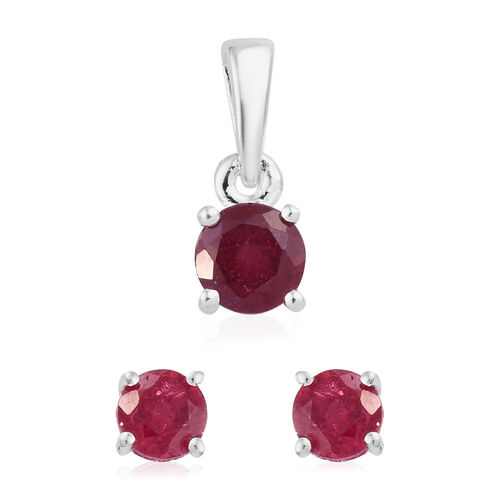 1.25 Ct African Ruby Solitaire Pendant and Stud Earrings Set in Platinum Plated Silver (with Push Back)