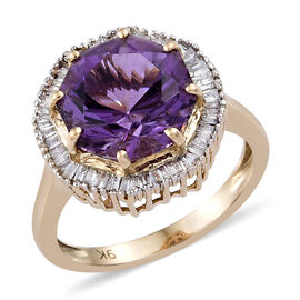 9K Yellow Gold AA Bolivian Amethyst (Octillian 10 mm), Diamond Ring  3.850 Ct.