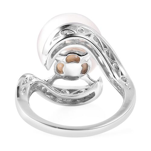 Edison Pearl (Rnd 13-14 mm), Natural White Cambodian Zircon Ring in Rhodium Overlay Sterling Silver