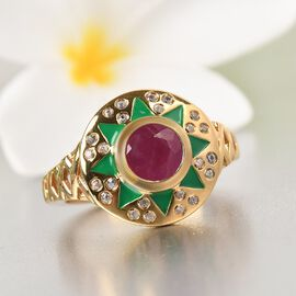 GP Celestial Dream Collection - African Ruby, Kanchanaburi Blue Sapphire and Natural Cambodian Zircon Ring in 14K Gold Overlay Sterling Silver 1.260 Ct.