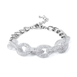 White Austrian Crystal (Rnd) Chain Bracelet (Size 8 with 1.5 inch Extender) in Silver Tone