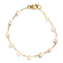 Freshwater Pearl Bracelet (Size 7.5) in 14k Yellow Gold Overlay Sterling Silver