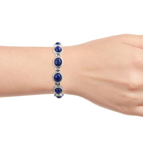 One Time Mega Deal-Lapis Lazuli (Ovl) Adjustable Bolo Bracelet (Size 6.5 - 9) in Stainless Steel 9.000 Ct.