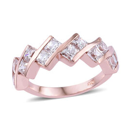 J Francis - Rose Gold Overlay Sterling Silver (Sqr 3.0 mm) Ring Made with SWAROVSKI ZIRCONIA
