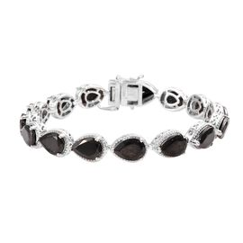 Elite Shungite (Pear) Bracelet (Size 7.5) in Platinum Overlay Sterling Silver 14.50 Ct, Silver wt 14
