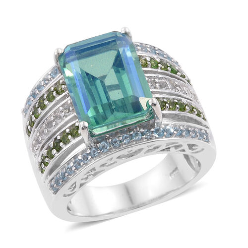 Peacock Quartz (Oct 7.85 Ct), Russian Diopside, Electric Swiss Blue Topaz and White Topaz Ring in Pl