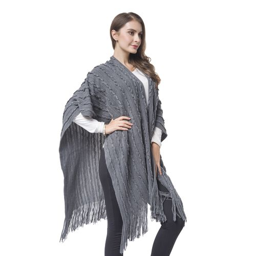 Designer Inspired-Grey Colour Stripes Pattern Knitted Long Poncho with Tassels (Size 90X75 Cm)