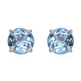 4.66 Ct Sky Blue Topaz Solitaire Stud Earrings in Sterling Silver