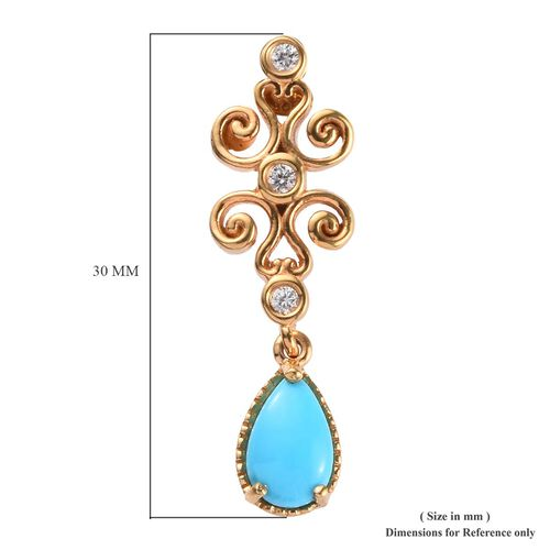 Arizona Sleeping Beauty Turquoise and Natural Cambodian Zircon Earrings (with Push Back) in 14K Gold Overlay Sterling Silver 1.75 Ct, Silver wt 5.22 Gms