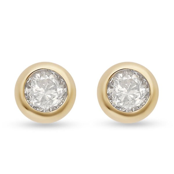 9K Y Gold SGL Certified Natural Diamond (I3/G-H) Stud Earrings (with Push Back) 0.25 Ct.