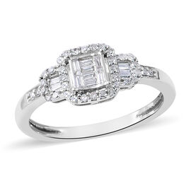 9K White Gold SGL Certified Diamond (Rnd and Bgt) (I3/G-H) Ring 0.25 Ct.