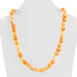Botswana Sunset Chalcedony (Rnd 10mm) Beads Necklace (Size 18) in Rhodium Overlay Sterling Silver 315.000 Ct