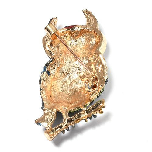 Multi Color Crystal (Rnd) Owl on Branch Enameled Brooch in Yellow Gold Plated