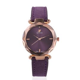 GENOA Rose Gold Plating Japanese Movement Water Resistant Diamond Watch with Purple Strap