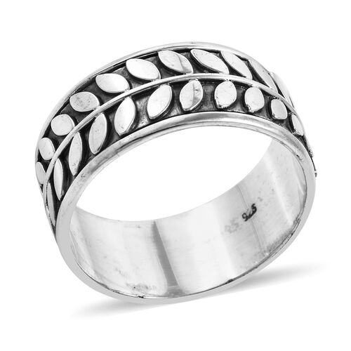Royal Bali Collection Sterling Silver Leaf Eternity Band Ring