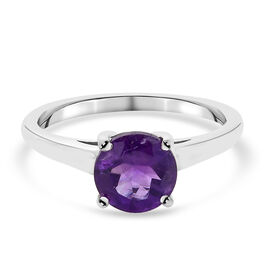 African Amethyst Ring in Platinum Overlay Sterling Silver 0.75 ct  0.750  Ct.