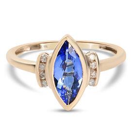 9K Yellow Gold AA Tanzanite and Diamond Ring 1.65 Ct.