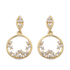 ELANZA Simulated White Diamond Cluster Earrings (with Push Back) in Yellow Gold Overlay Sterling Sil