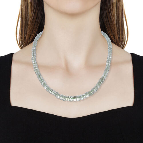 Tucson Find- AAA Green Amethyst (Rnd) Diamond Cut Necklace (Size 20) in Rhodium Overlay Sterling Silver 230.0 Ct.