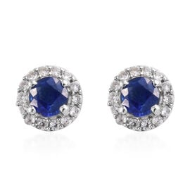 Kashmir Blue Kyanite (Rnd), Natural Cambodian Zircon Stud Earrings (with Push Back) in Platinum Overlay Sterling Silver 1.190 Ct.