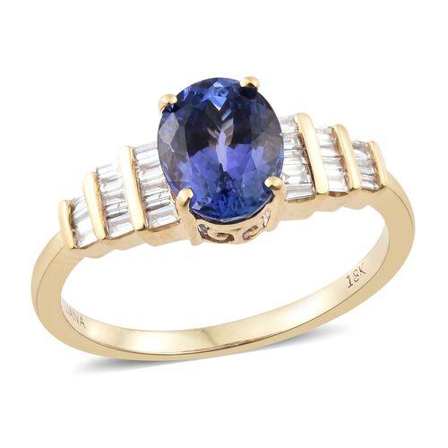 ILIANA 2.2 Ct AAA Tanzanite and Diamond SI GH Ring in 18K Gold