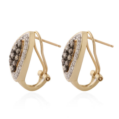 9K Yellow Gold Champagne Diamond and Natural White Diamond Earrings (with French Clip) 1.00 ct, Gold Wt. 4.50 Gms