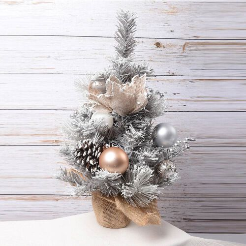 Table Christmas Tree with Snow Flocking, Baubles, Pine Cone (Size 40cm) - Silver and Golden