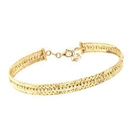 9K Yellow Gold Diamond Cut Bangle (Size 7 with 1.5 inch Extender), Gold wt 6.76 Gms