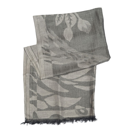Humming Bird Pattern Black Colour Jacquard Scarf with Tassels (Size 180x70 Cm)