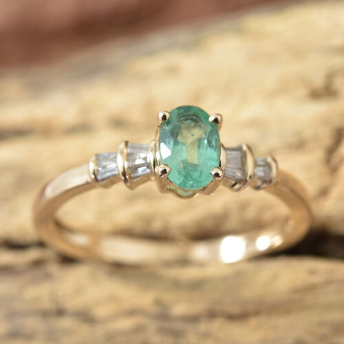 9K Yellow Gold AA Boyaca Colombian Emerald (Ovl), Diamond Ring  0.500 Ct