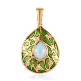 Ethiopian Opal and Natural Cambodian Zircon Enamelled Pendant in 14K Gold Overlay Sterling Silver 1.