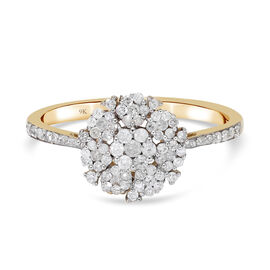 Super Find - 9K Yellow Gold SGL Certified Diamond (I3/ G-H) Floral Ring 0.500 Ct.